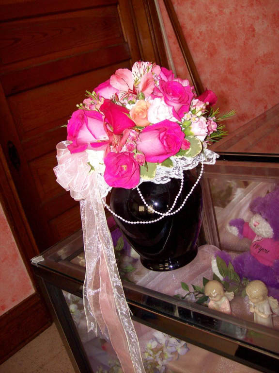 1105 PINK ROSE & CARNATION BOUQUET