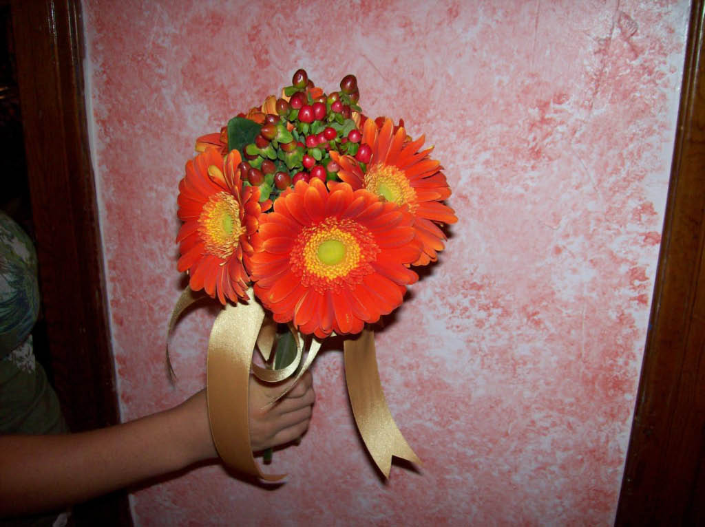 ORANGE GERBRA DAISY BOUQUET