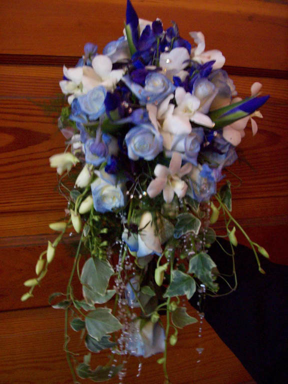 1073 BLUE CASCADING BOUQUET