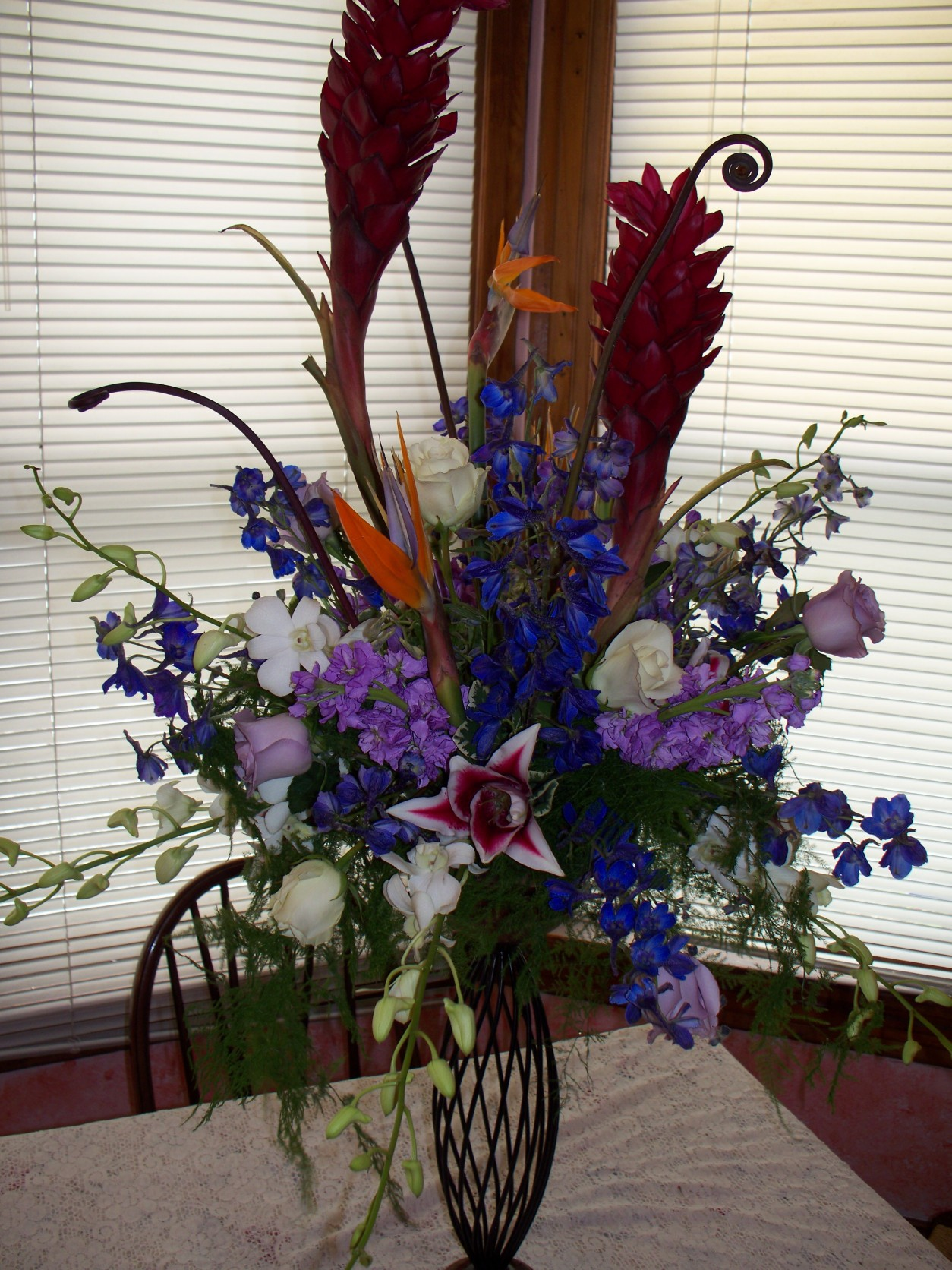 GINGER,BIRDS,ROSES,ORCHIDS EXOTIC ARRANGEMENT