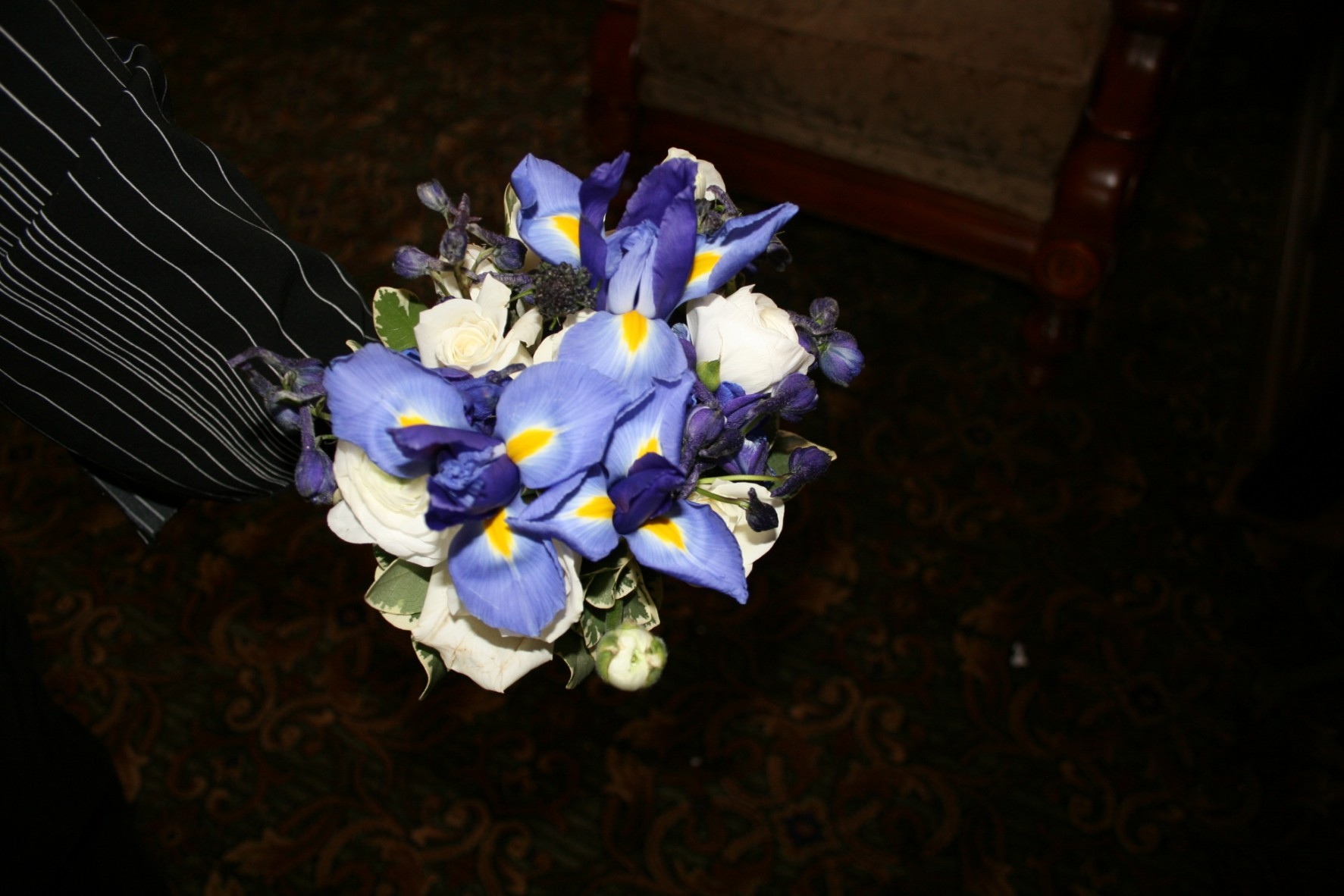 924 WHITE ROSE & IRIS BOUQUET