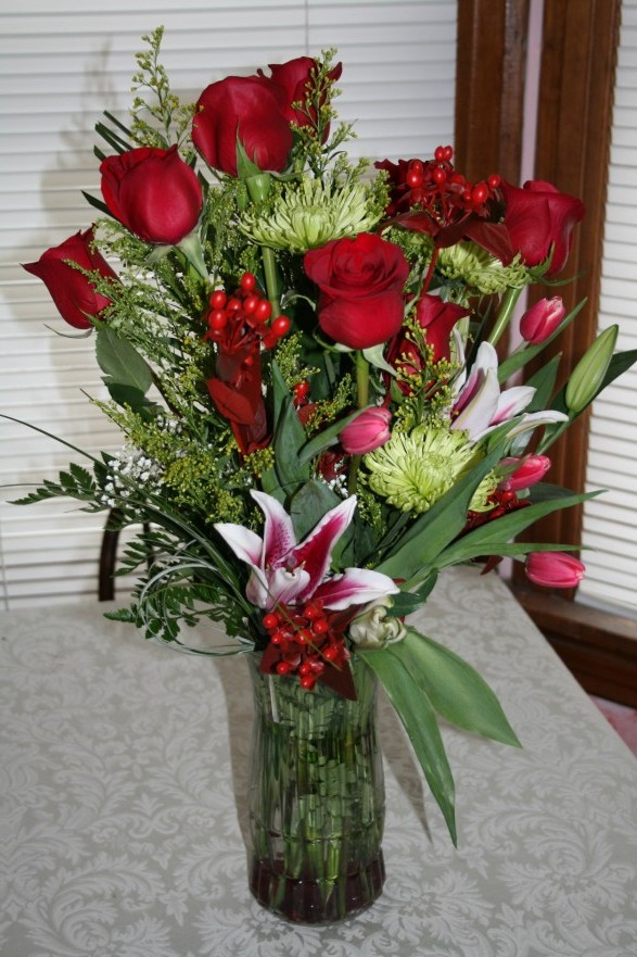 1736 DOZEN RED ROSE ARRANGEMENT