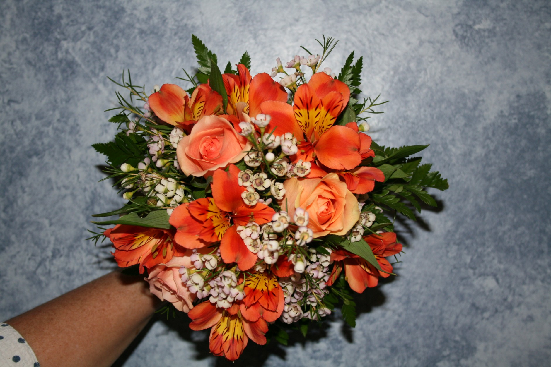 PEACH ROSES & ORANGE ALSTRO BRIDES MAID BOUQUET