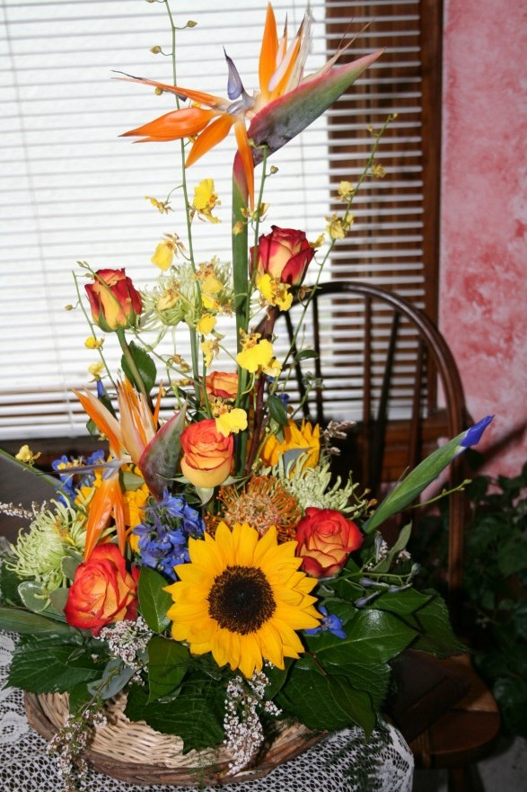 SUNFLOWER  & BIRD OF PARIDISE ARRANGEMENT