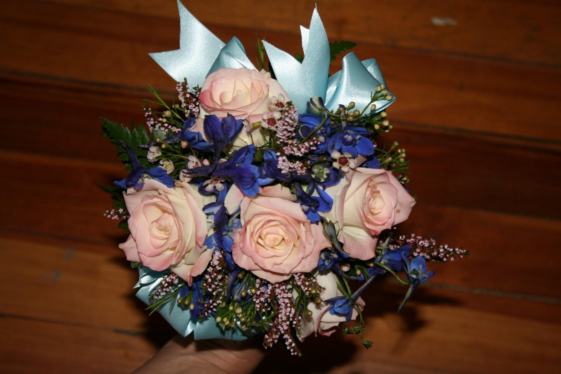 74 PINK TINTED ROSES/ BLUE DELPHINIUM