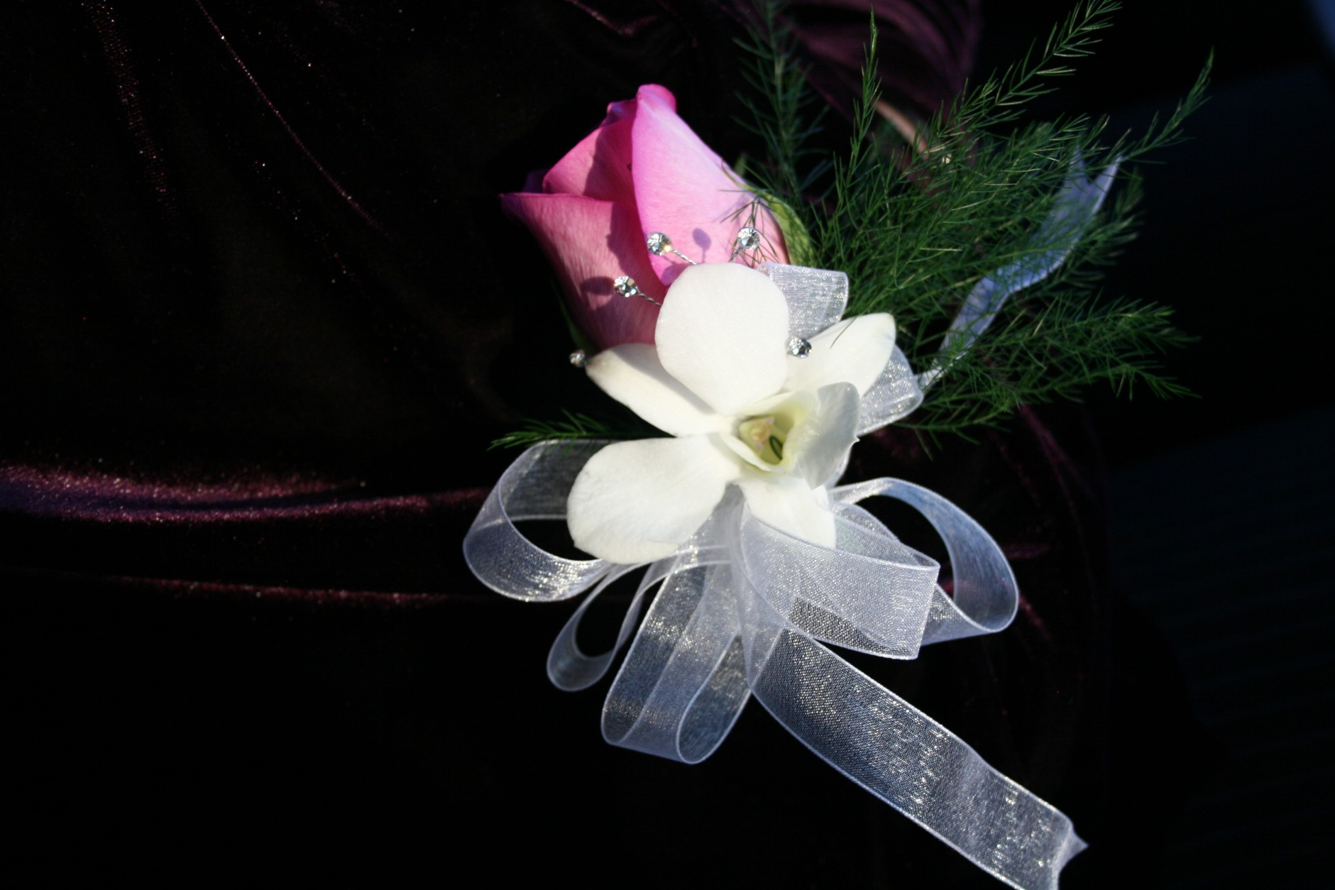 1283 PINK ROSE/WHITE ORCHID CORSAGE