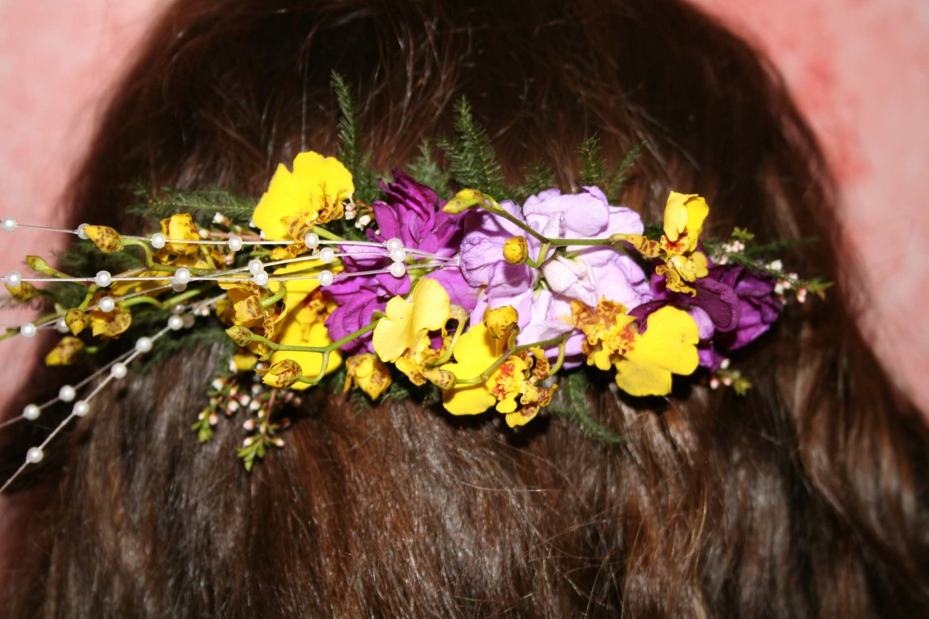 962 YELLOW ONCIDIUM ORCHID HAIR COMB