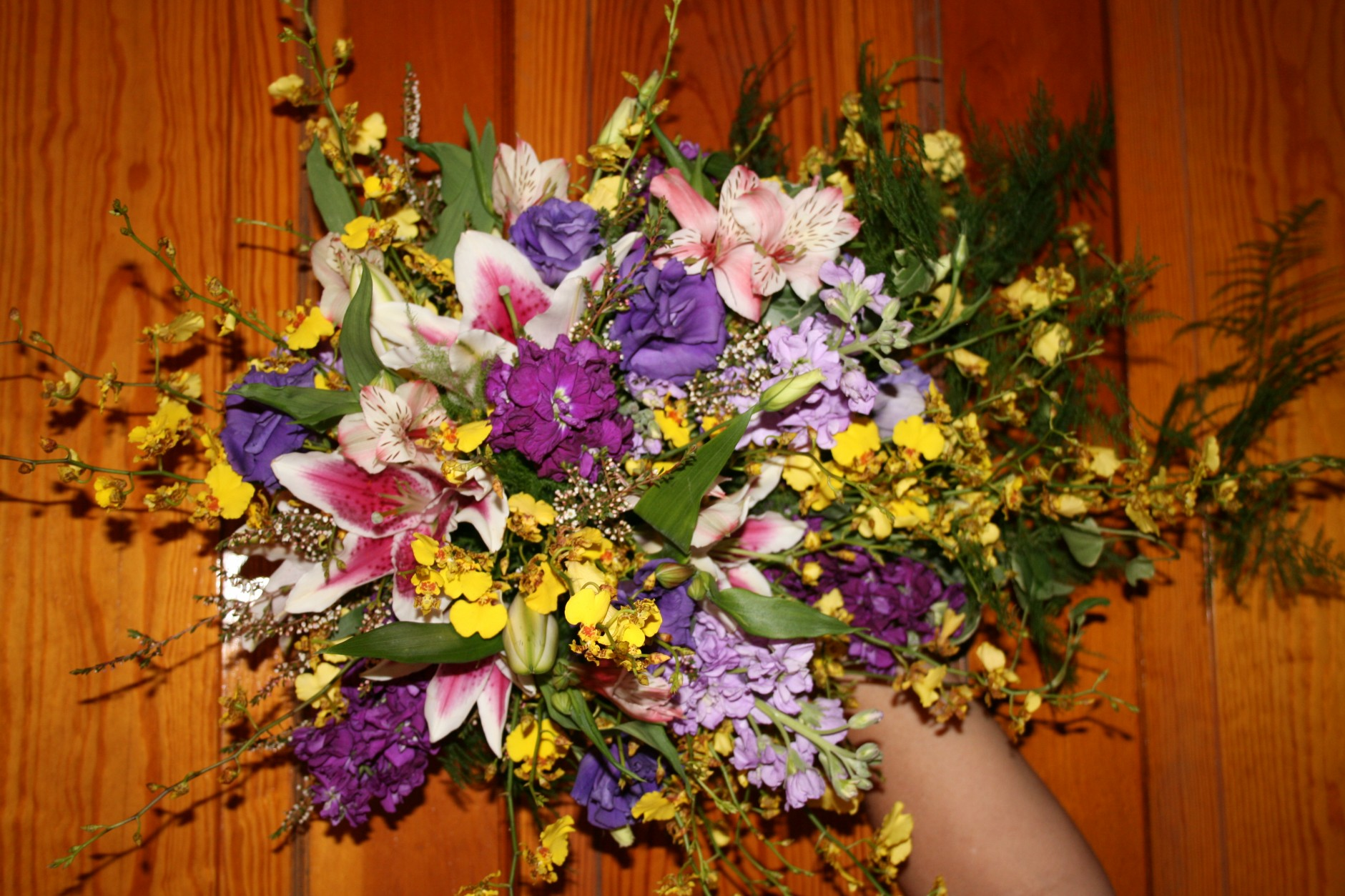 1333 STARGAIZER LILY,ONCIDIUM ORCHIDS AND STOCK BOUQUET