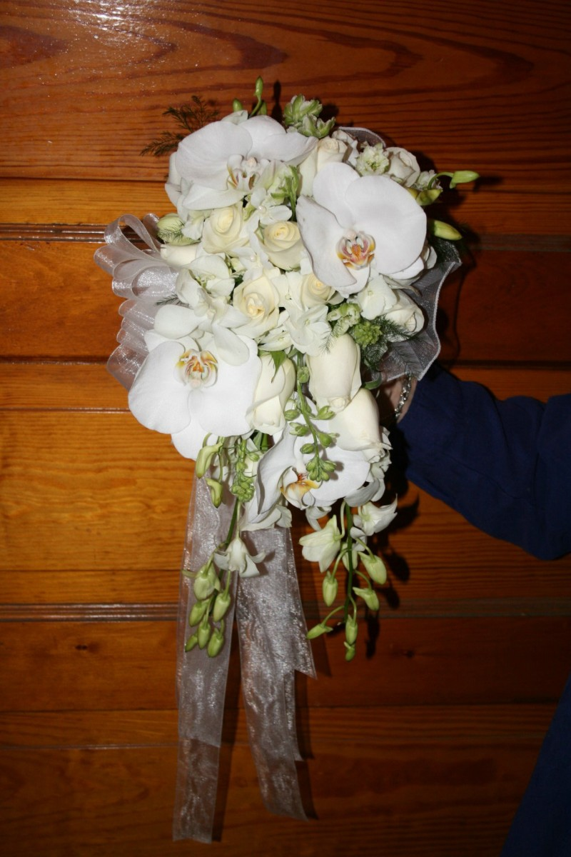 1287 WHITE ORCHIDS & ROSES CASCADING BOUQUET