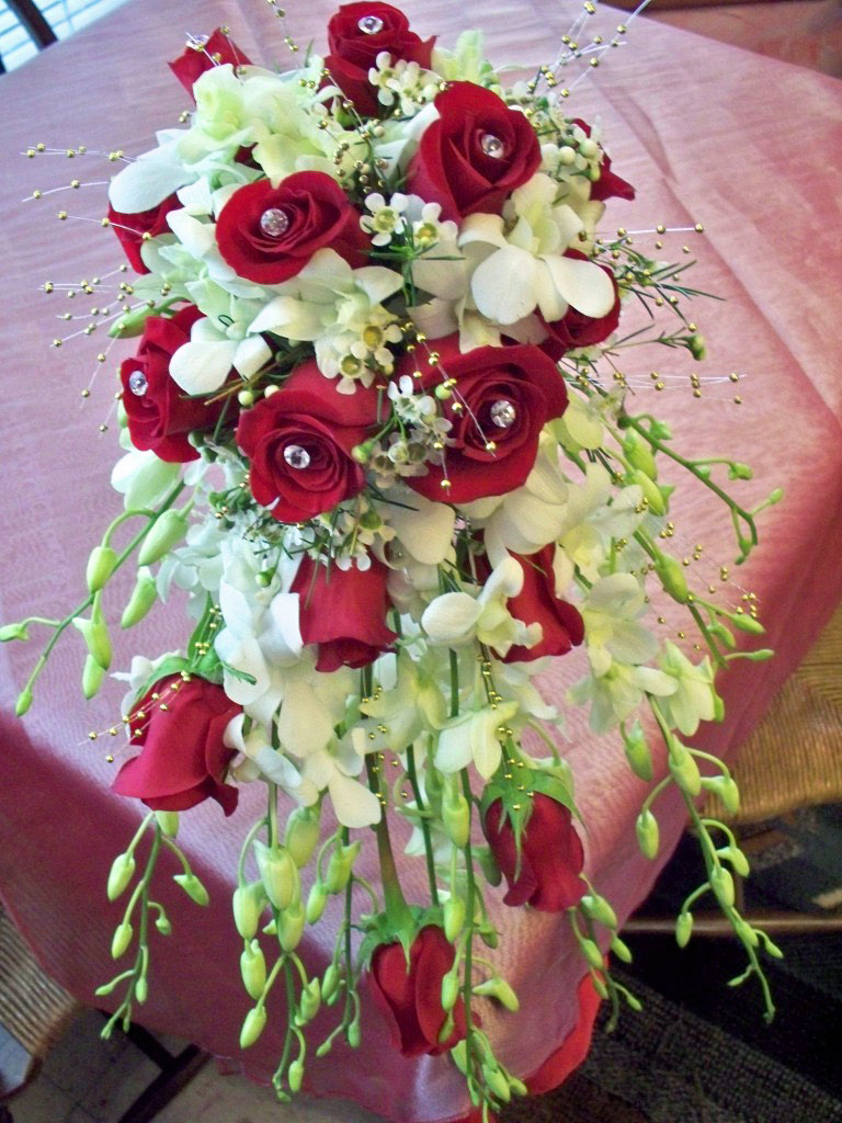 1616 Red White Cascading Bouquet Dawns Creations