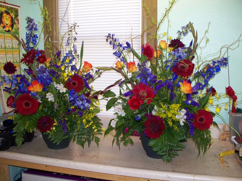 2038 FUNERAL FLOWERS  BLUE,BURGANDY,YELLOW,ORANGE