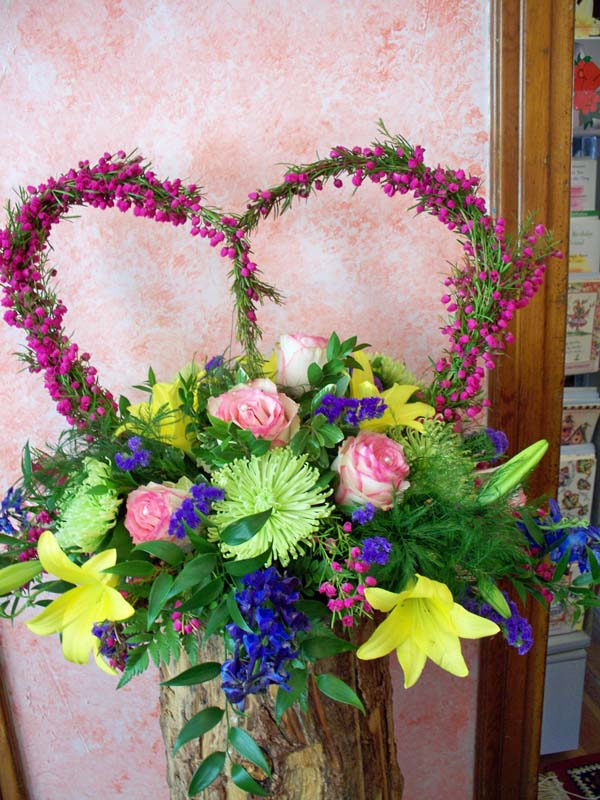 2318 HEATHER HEART FUNERAL FLORAL ARRANGEMENT