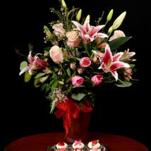 2348 Pink Lily Centerpiece